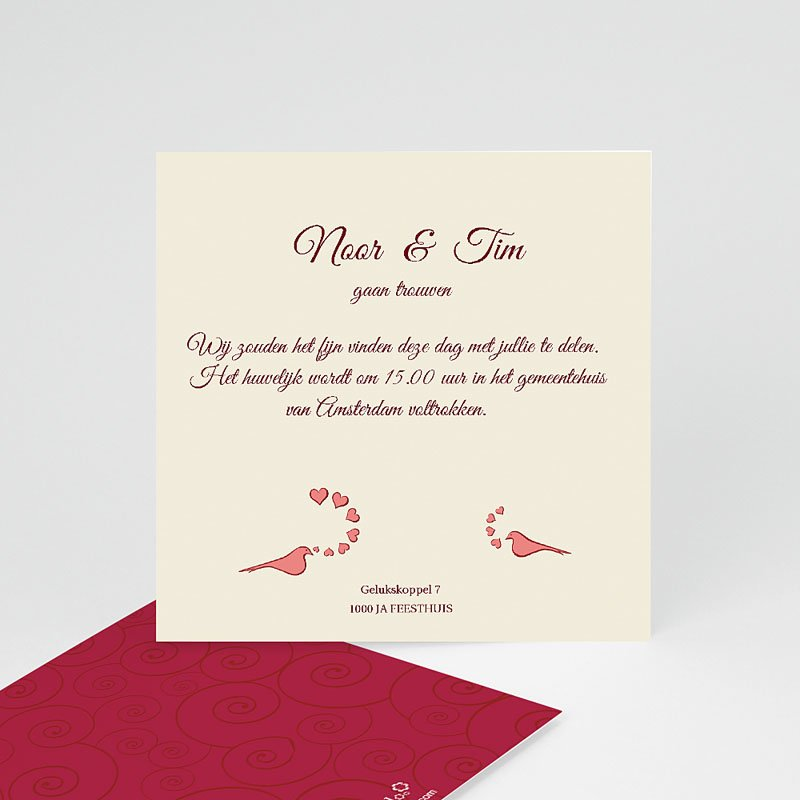 Persoonlijke insteekkaarten uitnodiging huwelijk