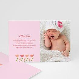 Bedankkaartje geboorte dochter - Tulpen baby - 1