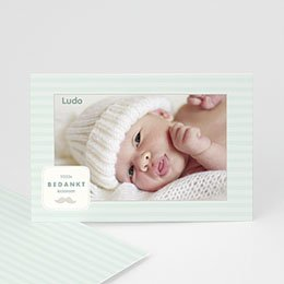 Bedankkaartje geboorte zoon - Rayures garçon - 1