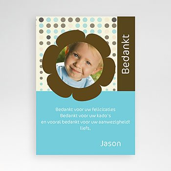 Bedankkaart doopviering jongen - Retro blauw-bruin - 1