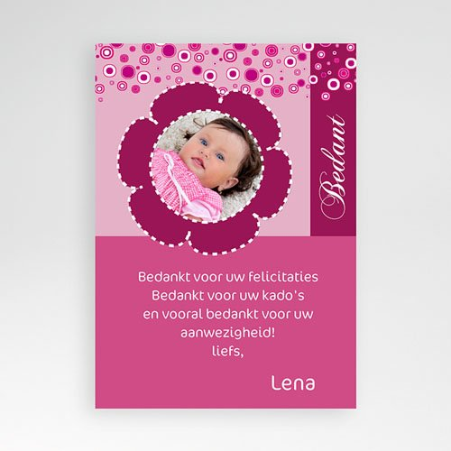 Bedankkaart doopviering meisje - Roze retro doop 10017 thumb