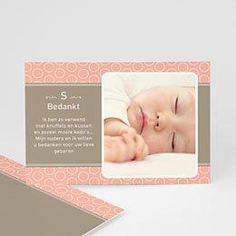 Bedankkaartje geboorte dochter Zalmroze dromen