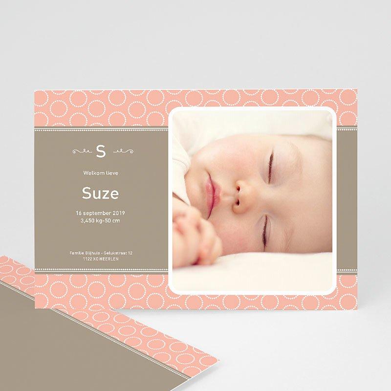 Geboortekaartje meisje Zalmroze dromen
