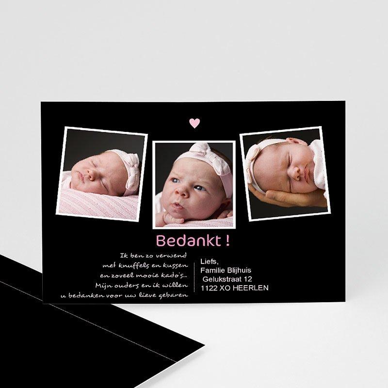 Bedankkaartje geboorte dochter Liefde vanuit het niets, roze