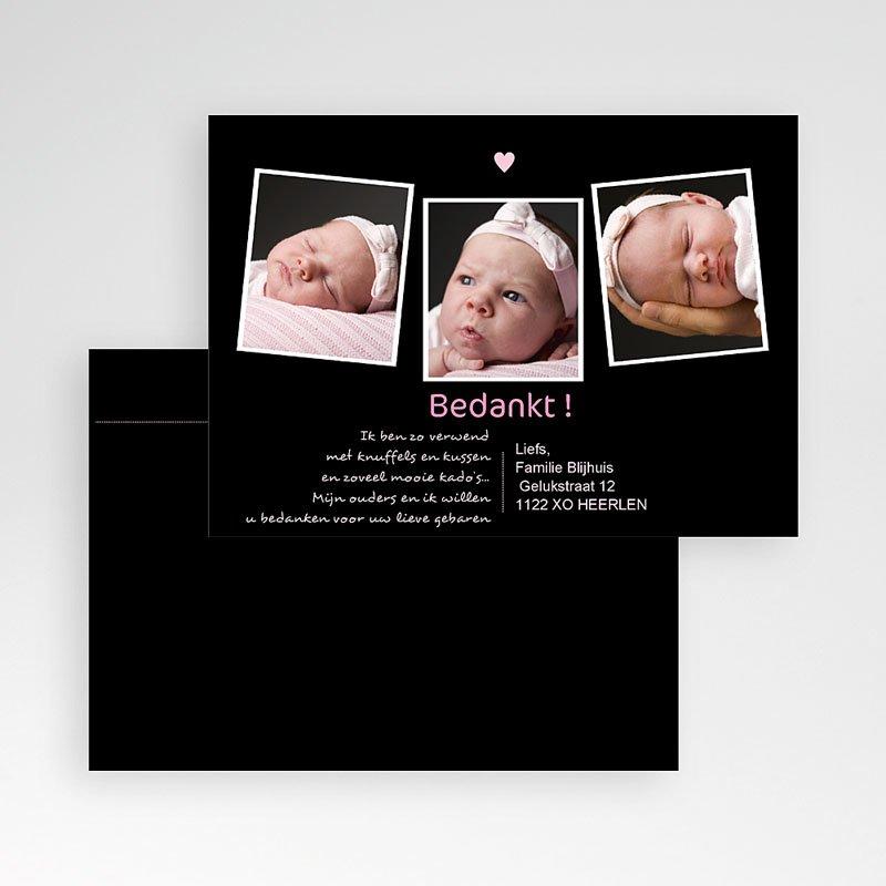 Bedankkaartje geboorte dochter Liefde vanuit het niets, roze pas cher