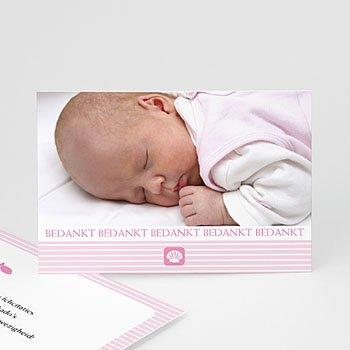 Bedankkaart doopviering meisje - Maritiem, roze - 1