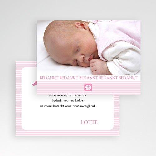 Bedankkaart doopviering meisje - Maritiem, roze 10060 thumb