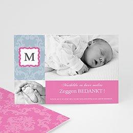Bedankkaartje geboorte dochter - Hip design meisje - 1
