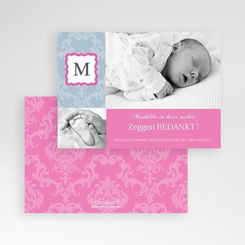 Bedankkaartje geboorte dochter - Hip design meisje 10066 thumb
