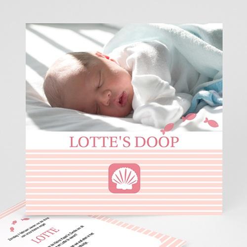 Doopkaartje meisje - Maritiem, roze 10067 thumb