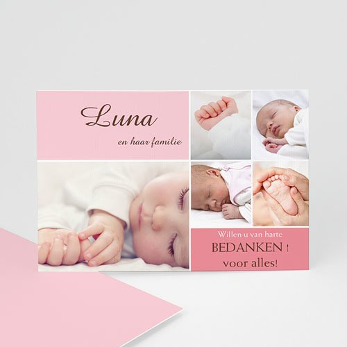 Bedankkaartje geboorte dochter - Softe mozaiek 10085 thumb