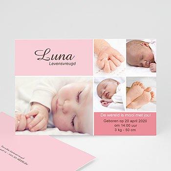 Geboortekaartje meisje - Softe mozaiek - 1