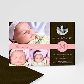 Bedankkaartje geboorte dochter - Vintage roze - 1