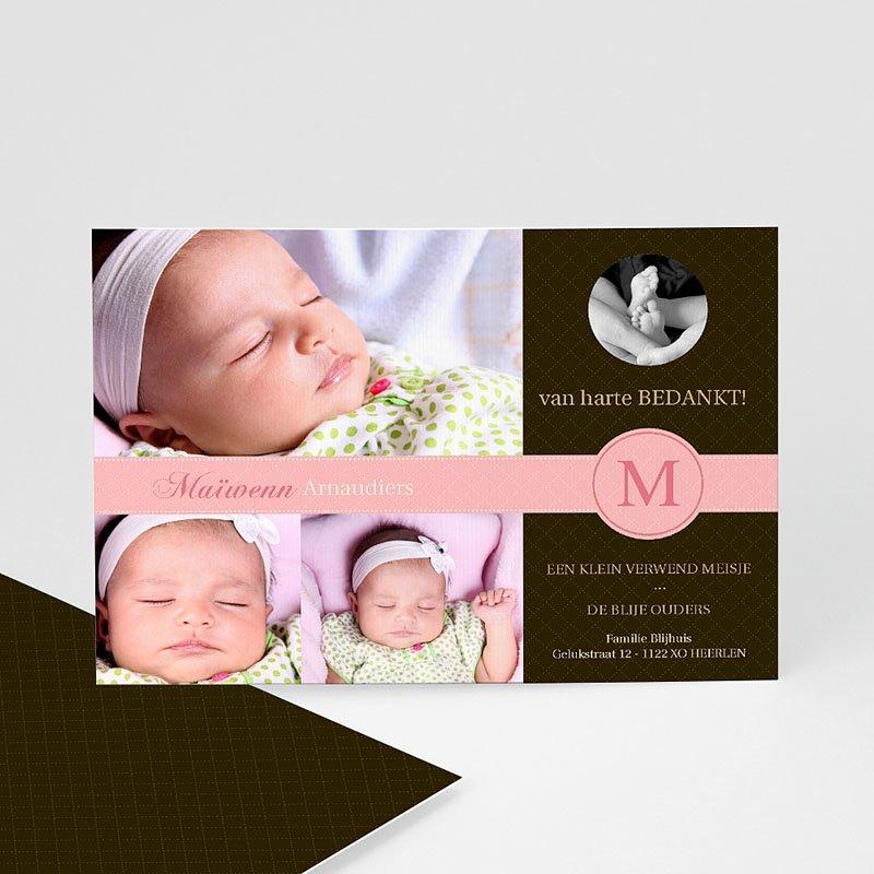 Bedankkaartje geboorte dochter - Vintage roze 10095 thumb