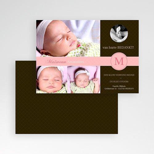 Bedankkaartje geboorte dochter - Vintage roze 10096 thumb