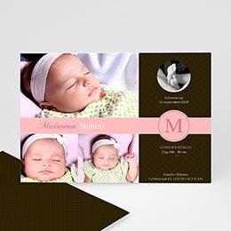 Geboortekaartje meisje Vintage roze