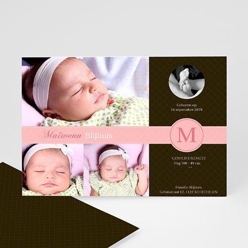 Geboortekaartje meisje - Vintage roze 10097 thumb