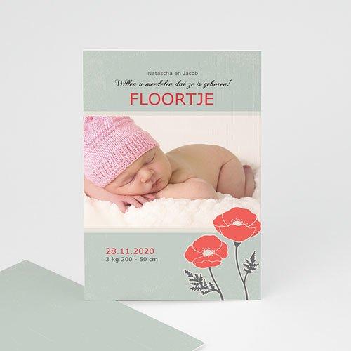 Geboortekaartje meisje - Klaproosjes 10101 thumb