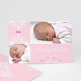 Bedankkaartje geboorte dochter - Roze dutch design - 1