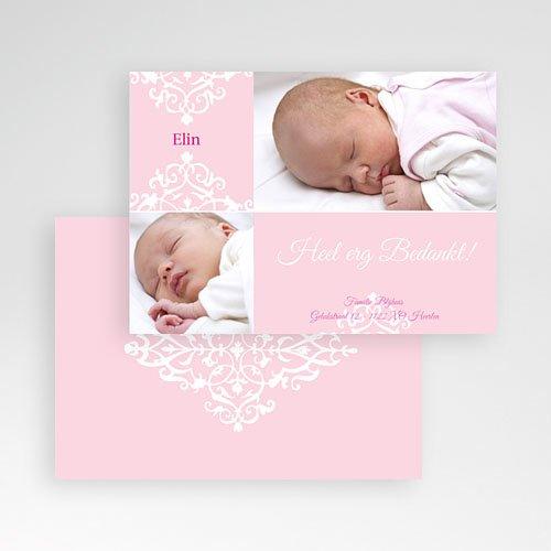 Bedankkaartje geboorte dochter - Roze dutch design 10106 thumb