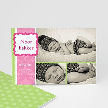 Bedankkaartje geboorte dochter - Roze snoepie - 1