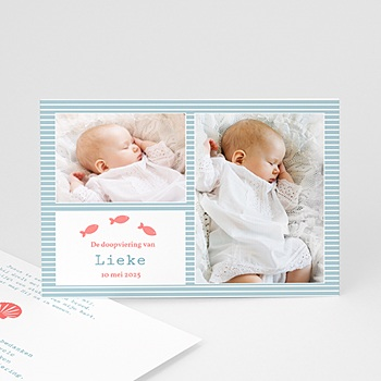 Bedankkaart doopviering jongen - Blauw water - 1