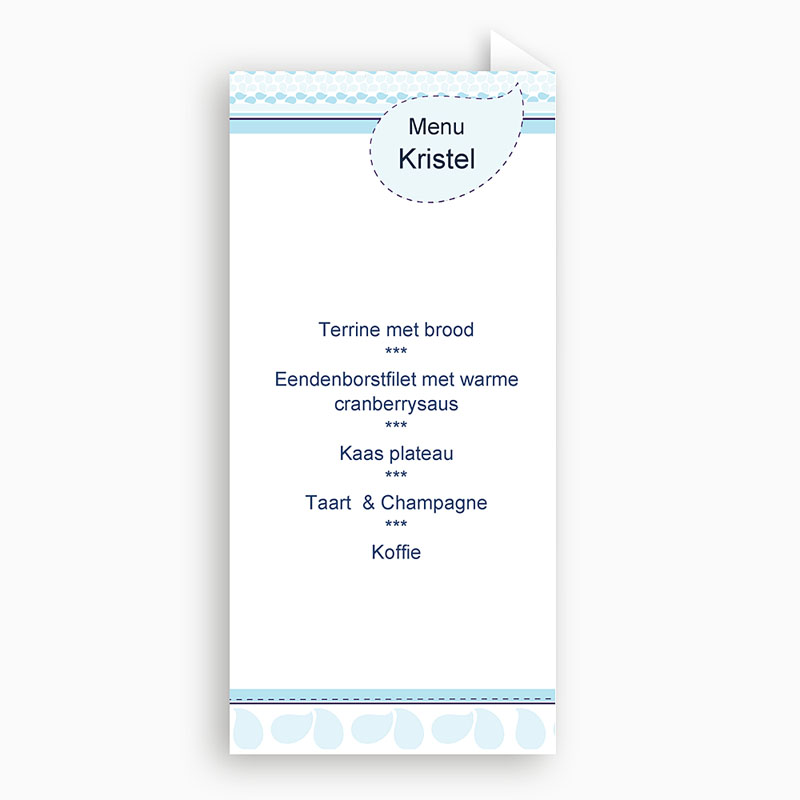 Menukaart doopviering - Hemels blauw 10134 thumb