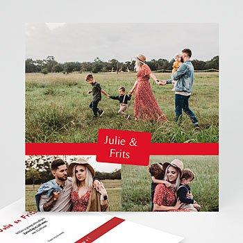 Hij + Zij uitnodigingen - Drie foto's rood kader - 1