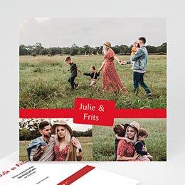 Hij + Zij uitnodigingen Drie foto's rood kader