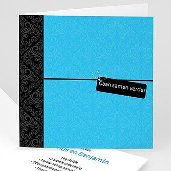 Hij + Zij uitnodigingen - Blauwe save the date - 1