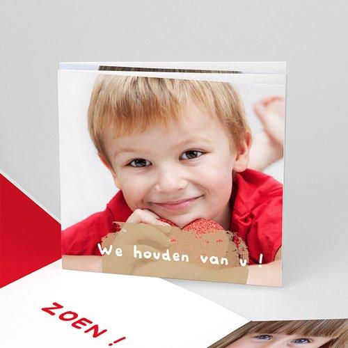 Multi fotokaarten, meerdere foto's - Drie foto's rood kader 10155 thumb
