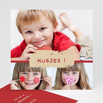 Multi fotokaarten, meerdere foto's - Drie foto's rood kader - 1