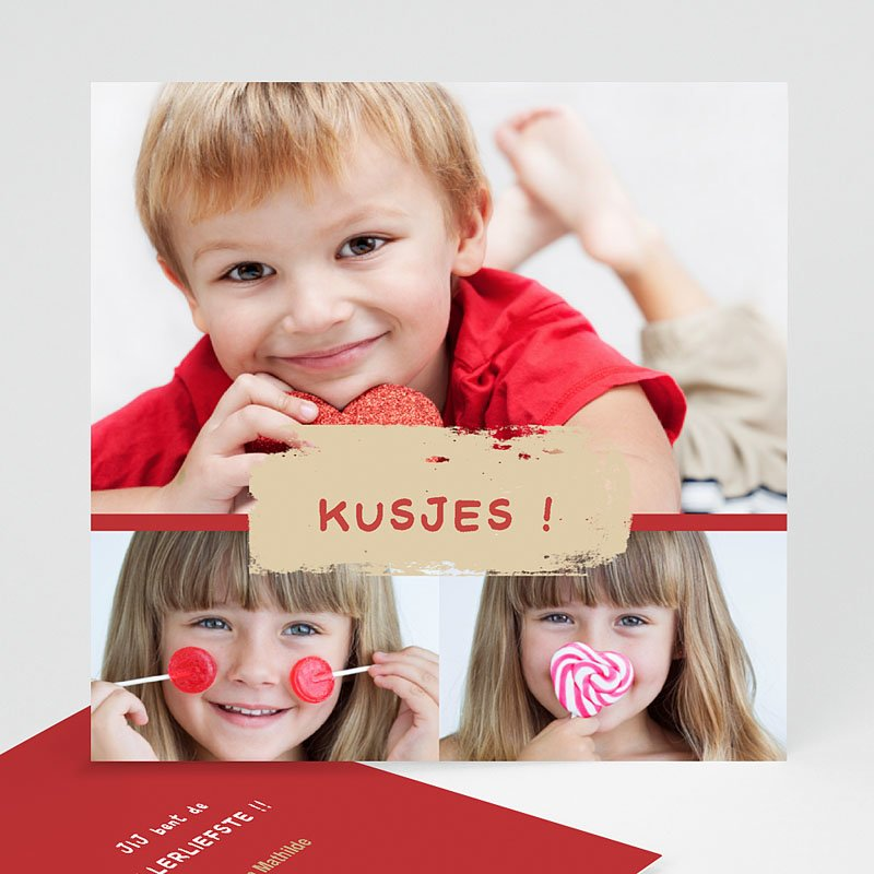 Multi fotokaarten, meerdere foto's - Drie foto's rood kader 10159 thumb