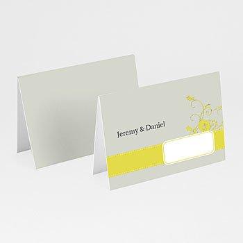 Personaliseerbare plaatskaartjes huwelijk - Bruin en geel - 1
