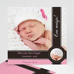 Geboortekaartje meisje Een roze bonbon