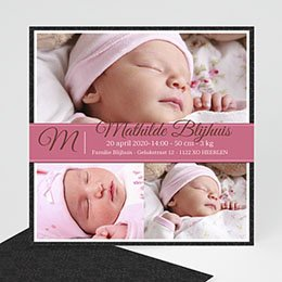 Aankondiging Geboorte Omlijst roze album