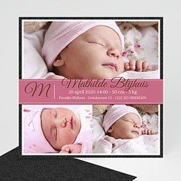 Geboortekaartje meisje Omlijst roze album