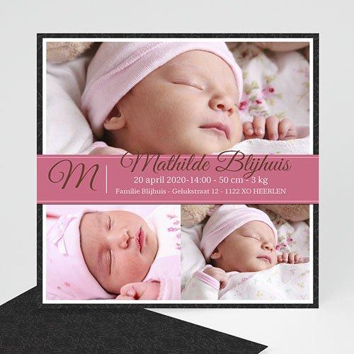 Geboortekaartjes Meisje Omlijst roze album