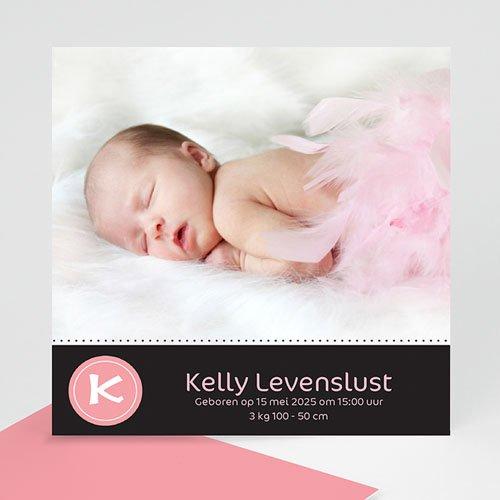 Geboortekaartje meisje - Vierkant stippelroze 10216 thumb
