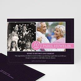 Jubileumkaarten huwelijk Roze lilla
