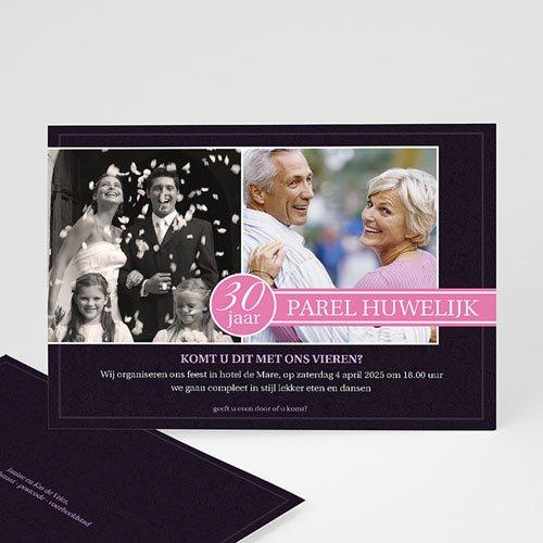 Jubileumkaarten huwelijk - Roze lilla 10222 thumb