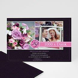 Bedankkaartjes huwelijk - Roze lilla - 1