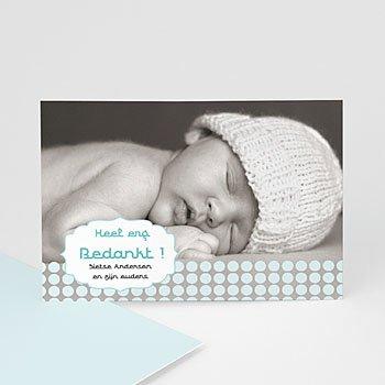 Bedankkaartje geboorte zoon - Zacht grijs blauw - 1