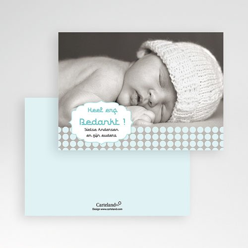Bedankkaartje geboorte zoon - Zacht grijs blauw 10275 thumb