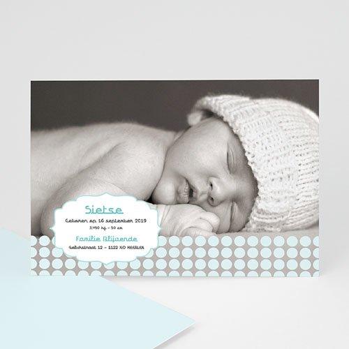 Geboortekaartje jongen - Zacht grijs blauw 10276 thumb