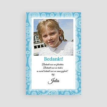 Bedankkaart communie meisje - Paisley blauw - 1