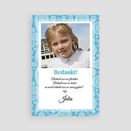 Bedankkaart communie meisje Paisley blauw