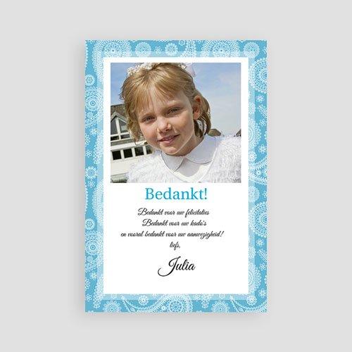 Bedankkaart communie meisje - Paisley blauw 10284 thumb