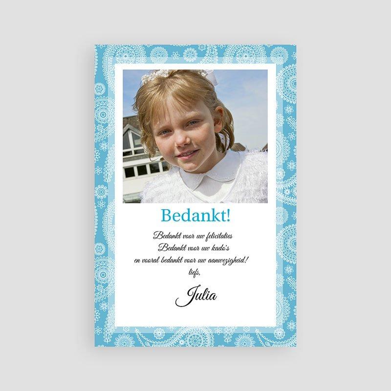 Bedankkaartjes Communie Meisje Paisley blauw