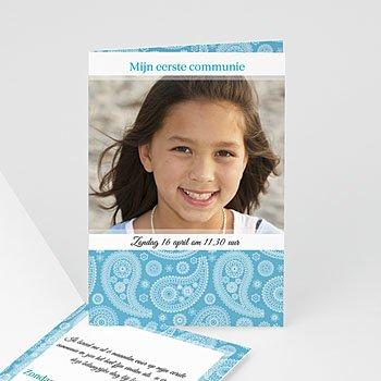 Uitnodiging communie meisje - Paisley blauw - 1